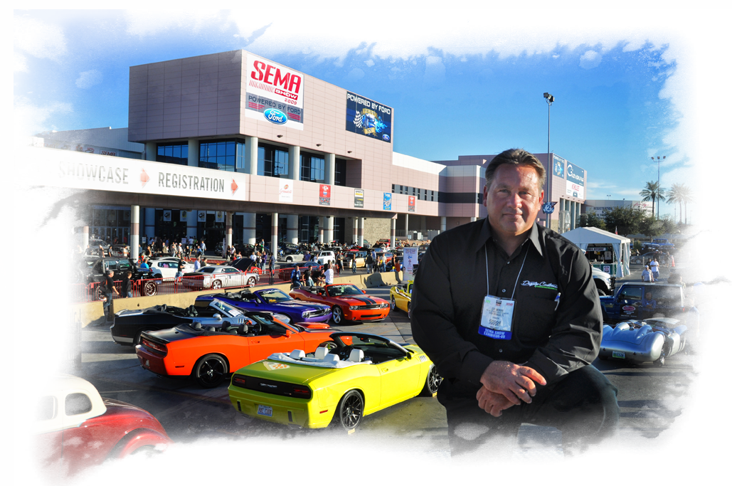 King of Convertibles, Jeff Moran at the 2009 SEMA Show overseeing his empire of premium quality late model Challenger and Camaro drop-tops.