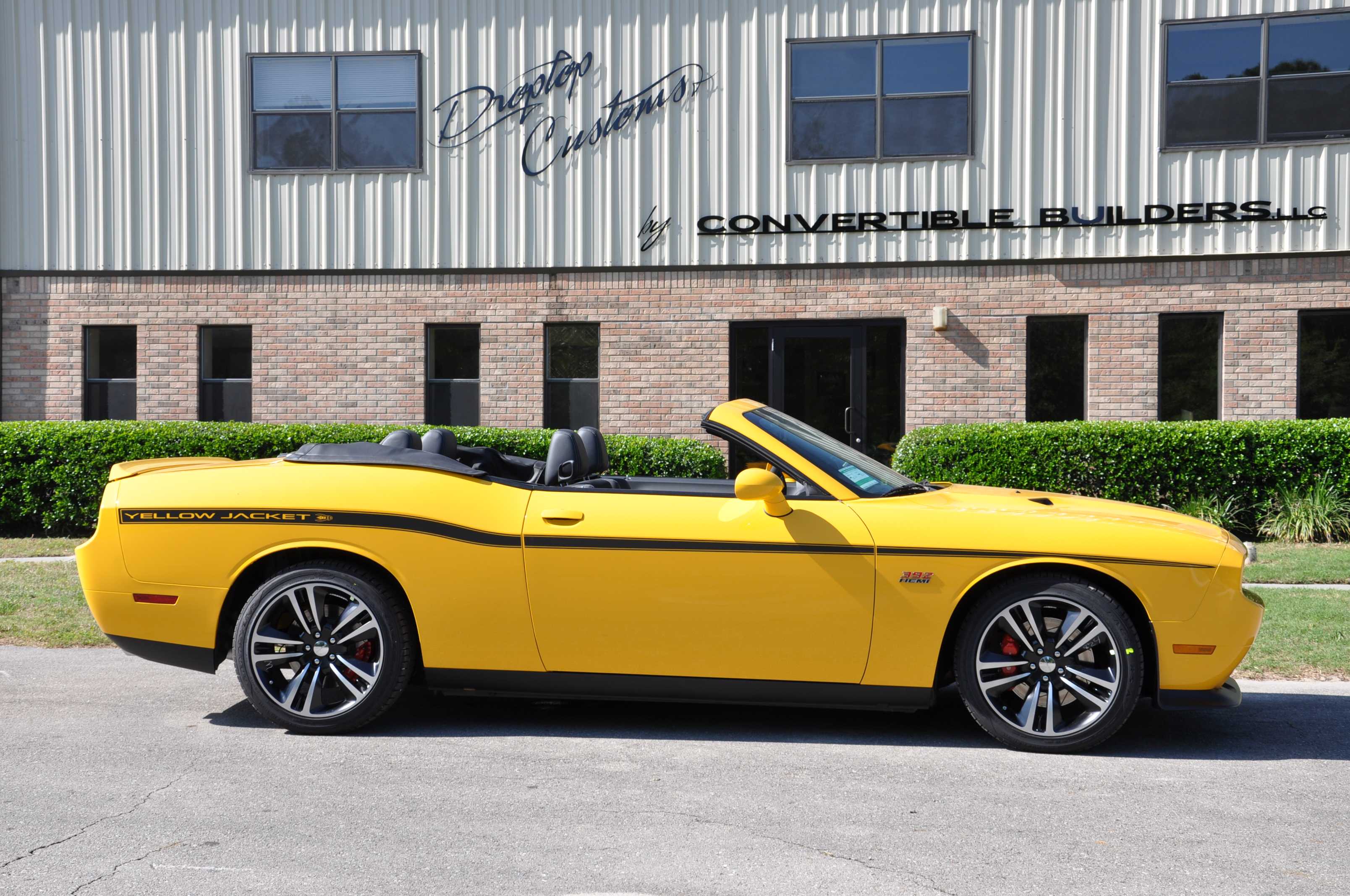 Dodge Challenger Convertible Yellow jacket top down