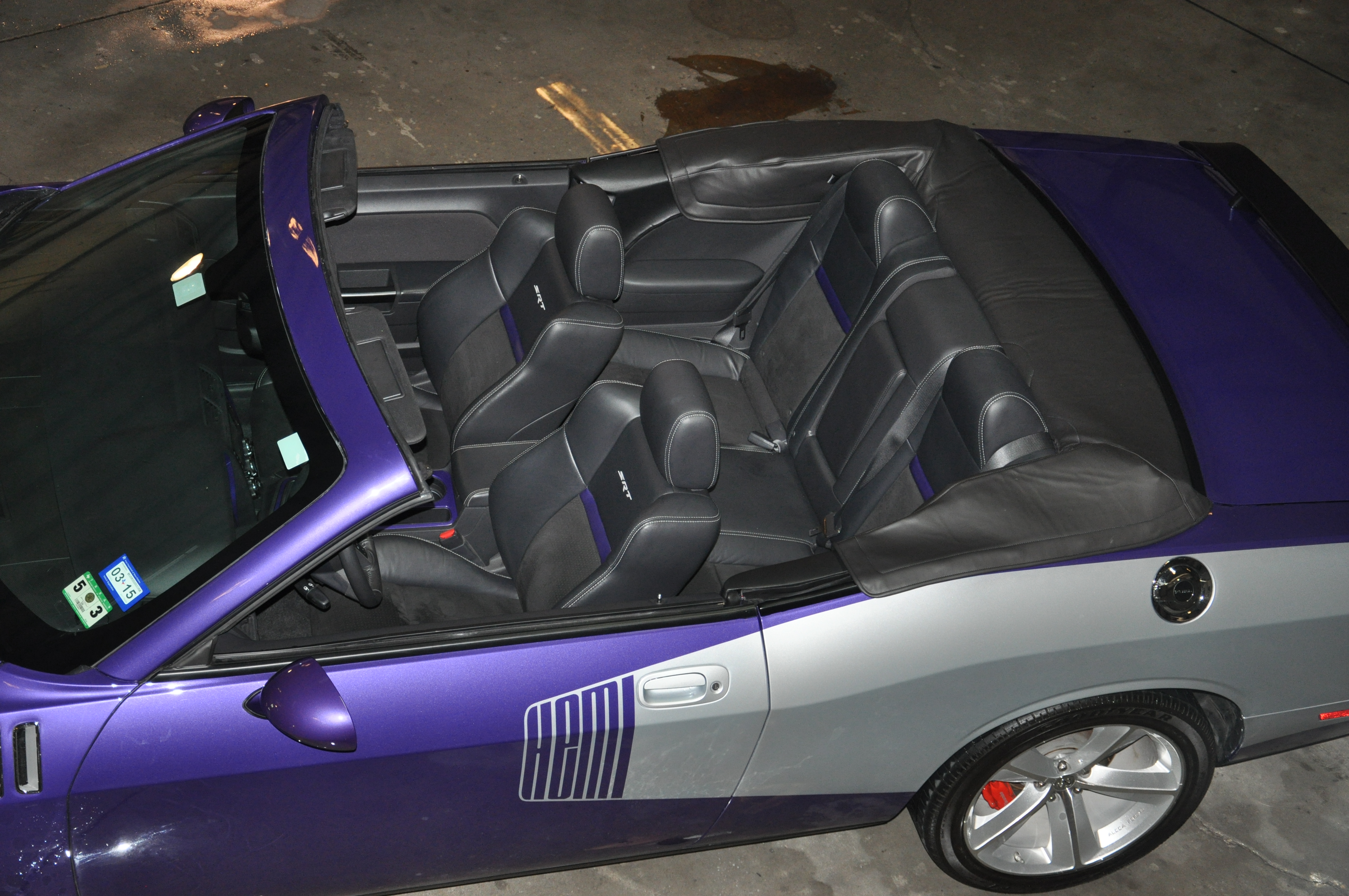 Dodge Challenger Convertible Plum and Silver Overhead Interior