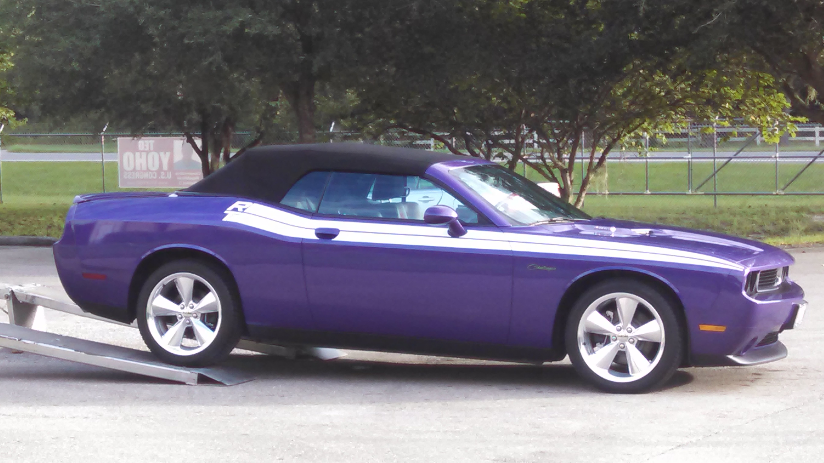 Purple Dodge Challenger Convertible