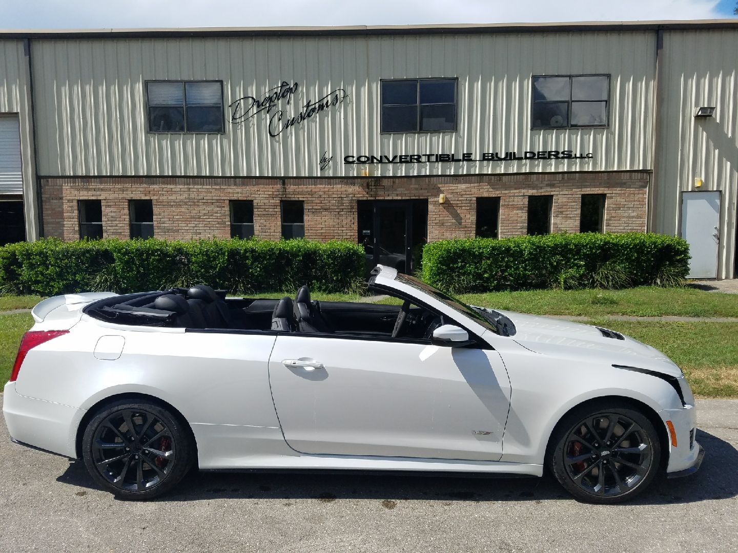 White Cadillac ATS Convertible Right Side Top Down